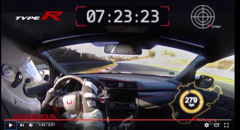 新型シビックタイプRがニュルブルクリンクでFF最速タイムのオンボード映像を公開 -